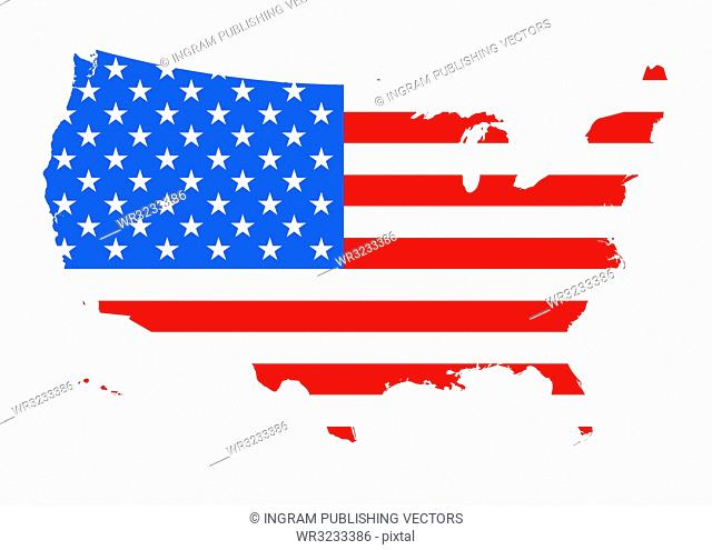 Map of america outlined with the flag of the us