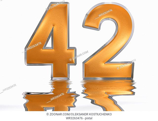 Numeral 42, forty two, reflected on the water surface, isolated on white, 3d render