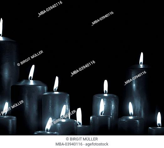 Candles, burning, detail, s/w, wax candles, flames, candlelight, candlelight, coziness, heat, advent, christmas, romanticism, still life