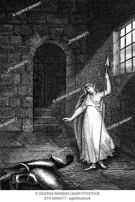 Joan of Arc imprisoned in the Castle of Rouen during her trials for Heresy in 1431