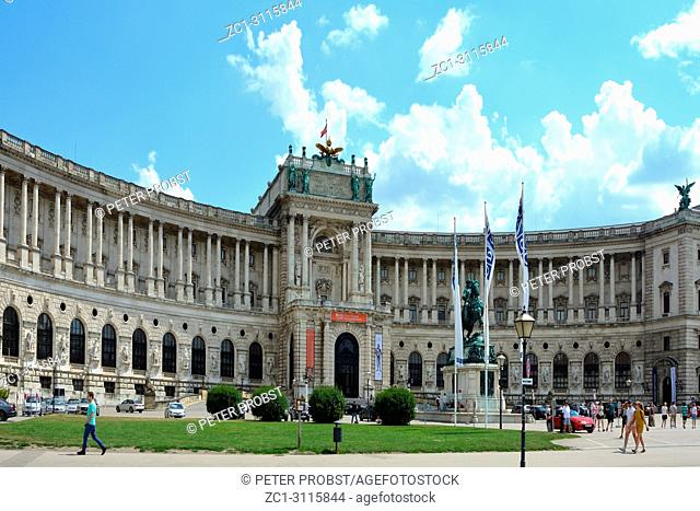 View from Heldenplatz to the Hofburg in Vienna with the official residence of the Austrian Federal President and seat of the OSCE - Austria