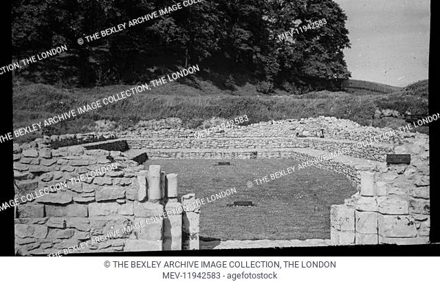 Lesness Abbey - Chapter House, 1915. The archeological excavations of Lesnes Abbey carried out by the Works Committee of the Woolwich Antiquarian Society during...