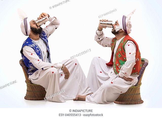 Sikh People drinking Lassi during Baisakhi celebrations