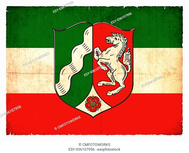 Flag of the German province North Rhine-Westphalia created in grunge style