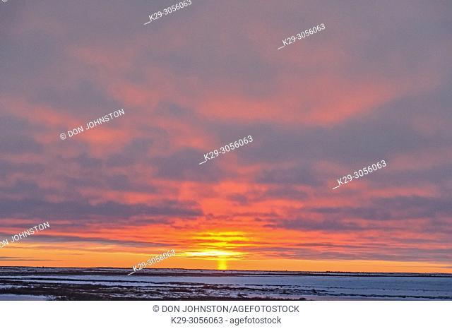 Sunset skies over Hudson Bay at freeze-up, , ,