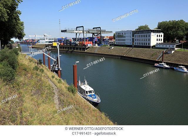 Germany, Duisburg, Rhine, Lower Rhine, Ruhr area, North Rhine-Westphalia, Duisburg-Ruhrort, harbour Duisburg, Ruhr port, Vincke Canal, container port