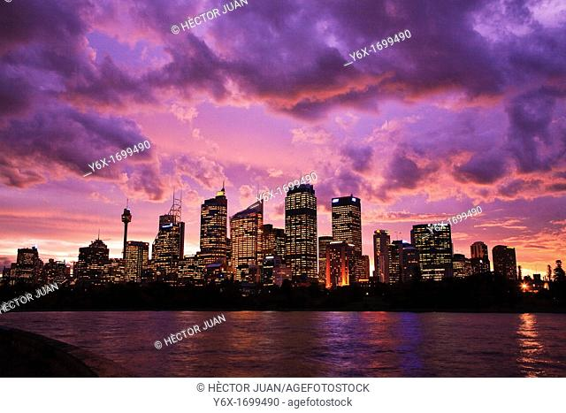 Sydney Skyline from Botanical Gardens at dusk
