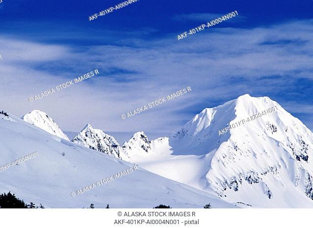 Snow-covered Peaks Kenai Mountains Winter Alaska