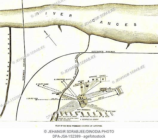 Military and munity mutiny views map plan of Sir Hugh Wheeler's position of Chwnpore ; Kanpur ; Uttar Pradesh ; India