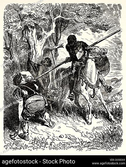 Don Quixote what befell the knight after he had left the Inn. Don Quixote by Miguel de Cervantes Saavedra. Old XIX century engraving illustration by Gustave...