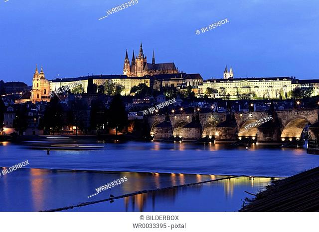 Prague, Charles Bridge, Prague Castle Hradcany and Moldova