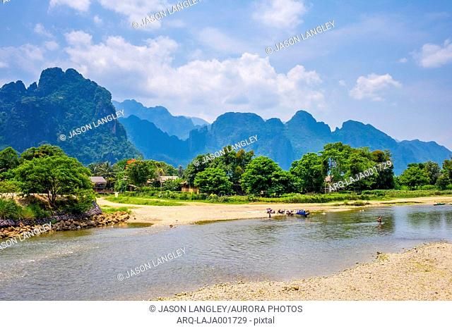Nam Song River and Karst landscape in Vang Vieng, Vientiane Province, Laos