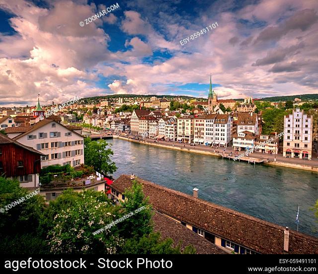 Aerial View of Zurich Skyline and Limmat River, Zurich, Switzerland