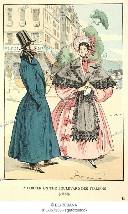 A corner on the Boulevard des Italiens 1833. A gentleman wearing a long green coat and top hat. A lady wearing a pink dress, bonnet and grey stole