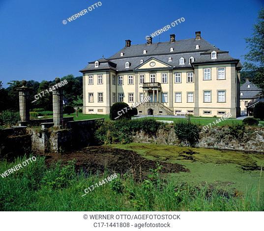 Germany. Ruethen, Haarstrang, nature reserve Arnsberg Forest, Sauerland, Westphalia, North Rhine-Westphalia, NRW, Ruethen-Kallenhardt, Glenne, Glenne valley