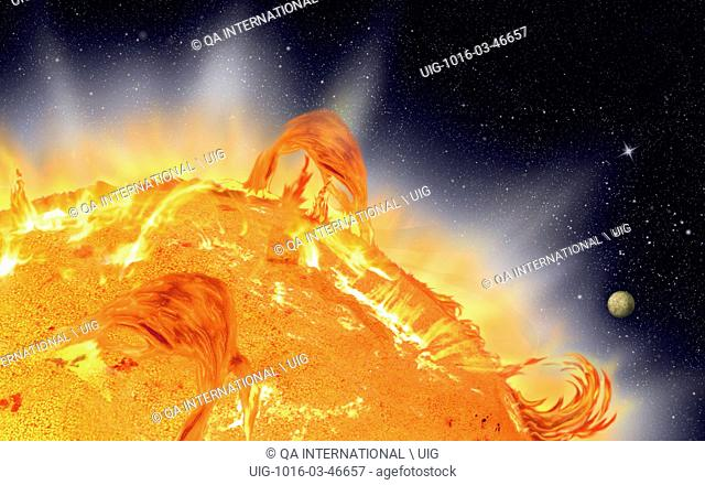 Gas that erupts from the chromosphere and solar corona, contrasting with the darkness of space