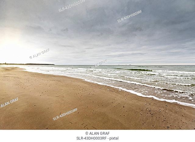 Waves washing up on beach