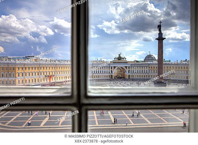 Palace Square seen from a window of Hermitage Museum, Saint Petersburg, Russia