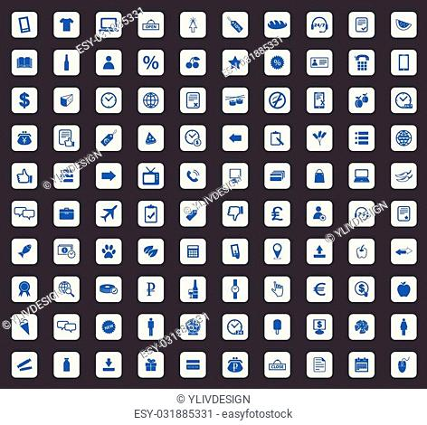 100 Shop icon set, blue images in light gray square, on black background