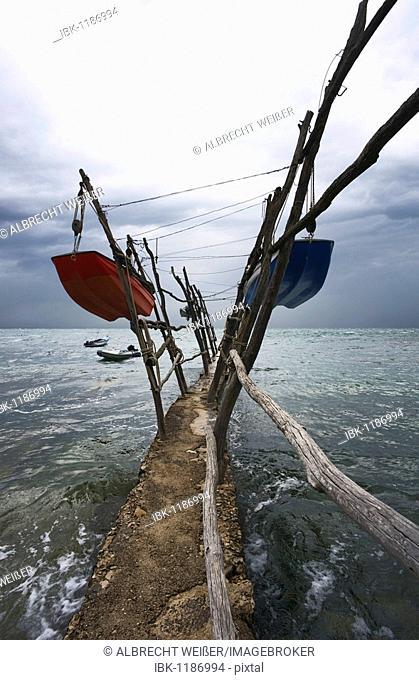 Suspended boats in a storm at Cape Savudrija, Adriatic Sea, Istria, Croatia, Europe