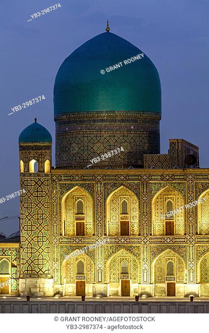Tilla-Kori Madrassa At Night, Photographed From The Viewing Platform, The Registan, Samarkand, Uzbekistan