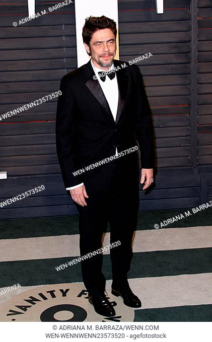Vanity Fair Oscar Party at Wallis Annenberg Center for Performing Arts - Arrivals Featuring: Benicio Del Toro Where: Los Angeles, California