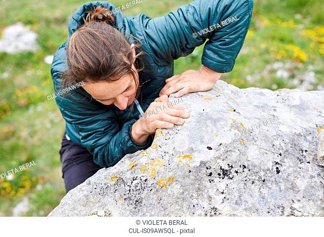 High angle view of woman climbing up rock