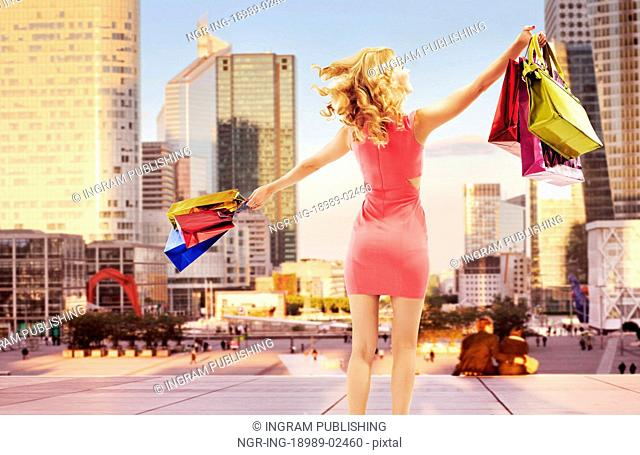 Conceptual photo of cheerful woman