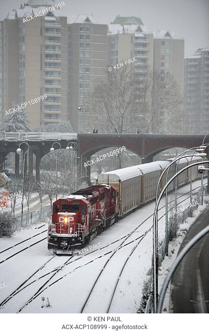 CP Rail freight train in New Westminster, British Columbia, Canada