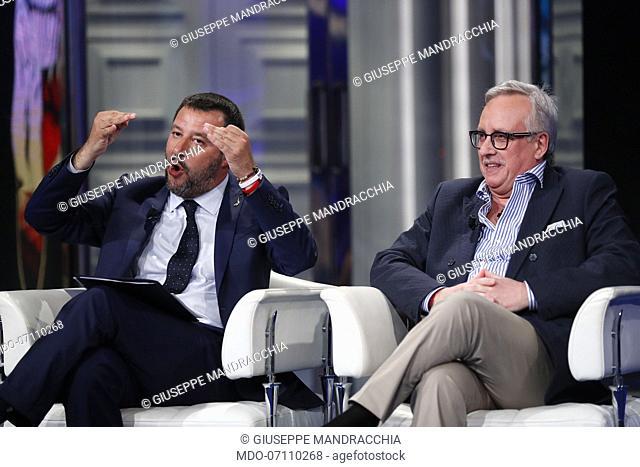 Italian politician Matteo Salvini and italian manager Giuseppe Mandracchia during Porta a Porta tv show Porta a Porta. Rome, May 22th, 2019