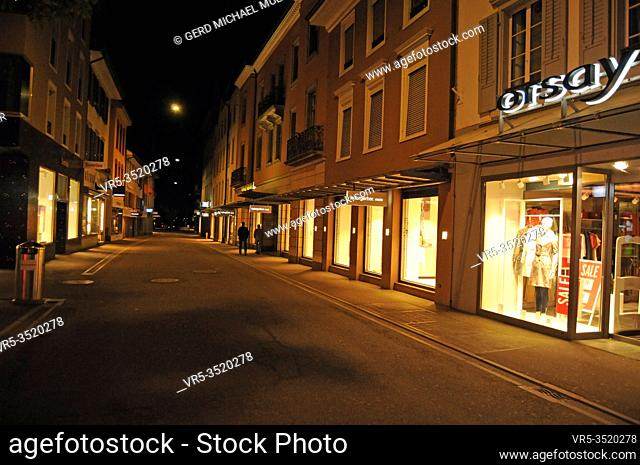 Zürich/Switzerland: The Commerce and night life in Baden has come to a still stand in times of Corona Lockdown
