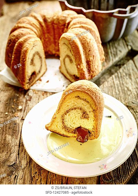 Bundt cake with nut marzipan and nougat