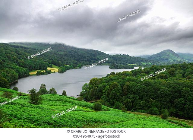 Grasmere viewed from Loughrigg Fell in the Lake District, Cumbria, England