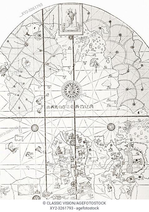 """The sea chart of Juan de la Cosa. Juan de la Cosa, c. 1450 â. """" 1510. Spanish navigator and cartographer. Owner and captain of the Santa María"""