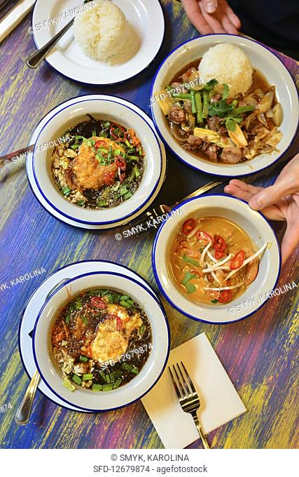 Chicken curry and Thai soup