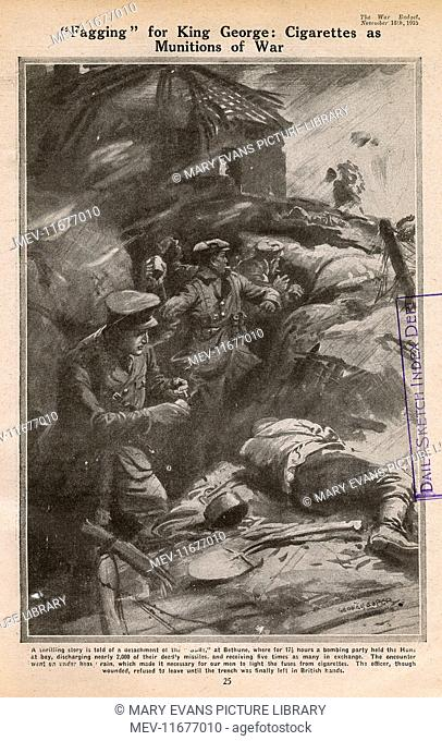 A bombing party detachment of the 'Buffs' at Bethune using cigarettes to light fuses in the pouring rain before throwing