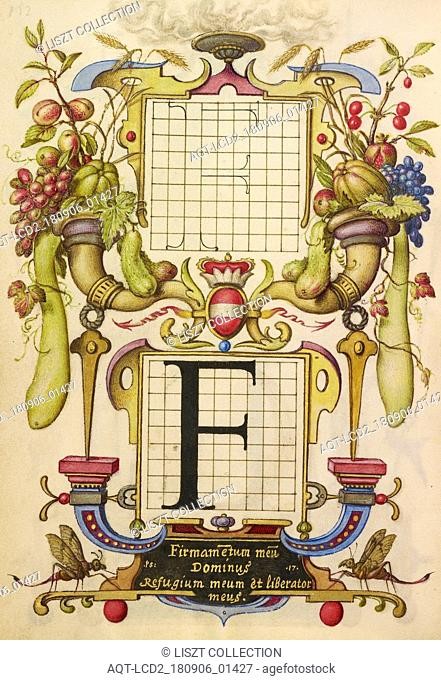 Guide for Constructing the Letter F; Joris Hoefnagel (Flemish , Hungarian, 1542 - 1600); Vienna, Austria; about 1591 - 1596; Watercolors, gold and silver paint