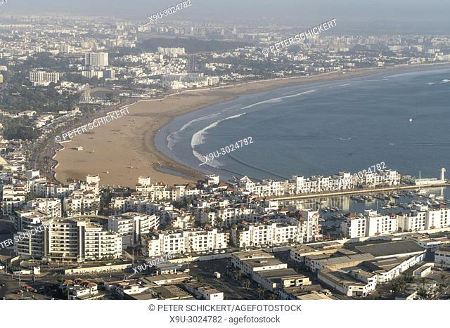 cityscape and the beach in Agadir seen from above, Kingdom of Morocco, Africa