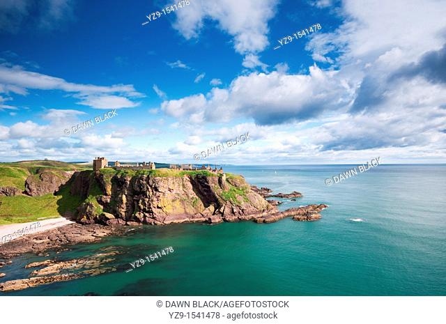Dunnottar Castle, Stonehaven, Aberdeenshire, Scotland  A medieval fortress located on a rocky outcrop 3 km south of Stonehaven  The site has held a fortress...