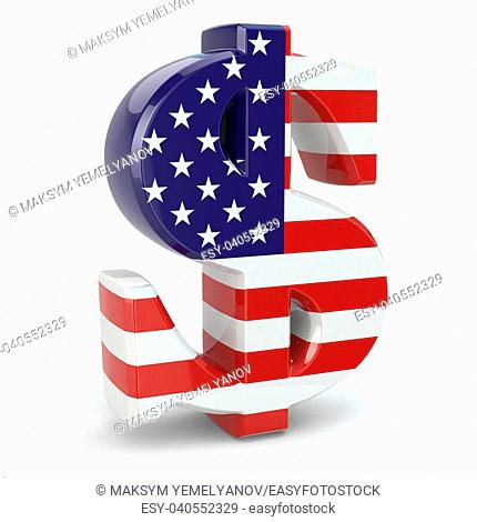 Dollar currency sign and USA flag. 3d