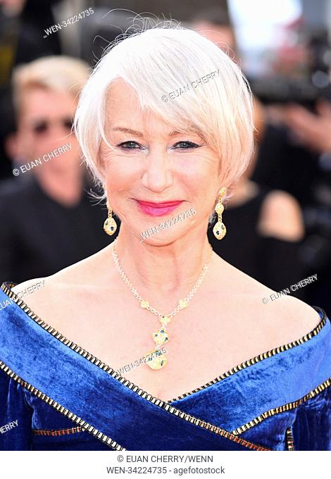 Helen Mirren wears Avakian dangler earrings set in yellow gold, and adorned with pear-cut and shield-cut blue tourmalines (2