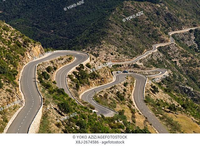 The road from Asmara to Massawa, Eritrea