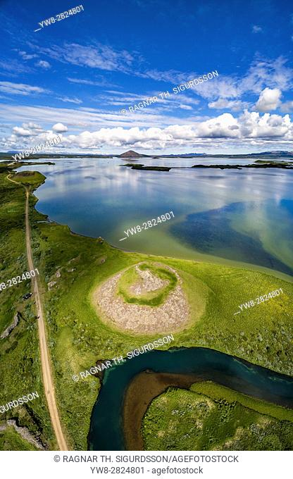Aerial view of Skutustadagigar Pseudocrater, Lake Myvatn, Iceland. The craters were formed by steam explosions, when boiling lava flowed over the wetlands