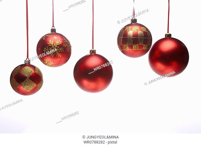 The red and gold Christmas ball decorations