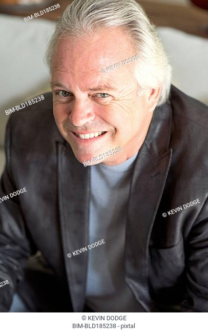 Caucasian businessman smiling