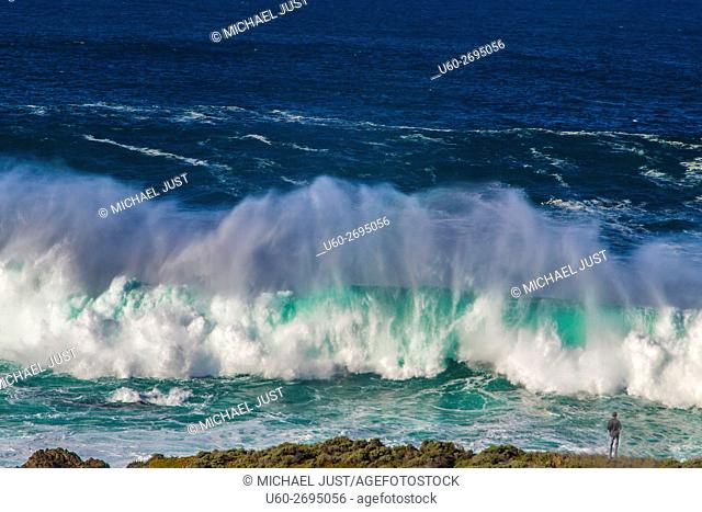 Large waves pound the beach just south of Carmel, California