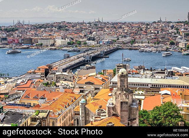 "Istambul, Turkey â. "" 07. 13. 2019. Top view of Eminonu district of Istanbul and Galata bridge in Turkey at summer day"