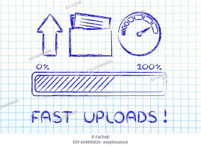 upload transfer speed: speedometer and progress bar