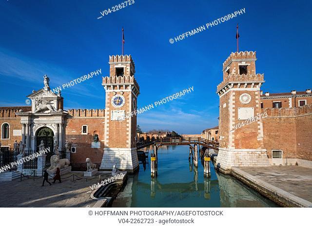 The historic Venetian Arsenal (Arsenale di Venezia) in Venice, Italy, Europe