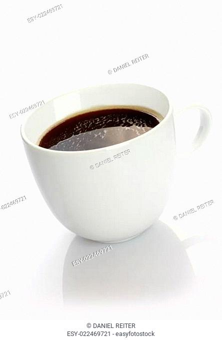 Cup of coffee over white